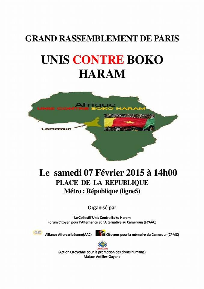 GRAND RASSEMBLEMENT CONTRE BOKO HARA A PARIS SAMEDI