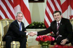 Saakashvili et son mentor bush