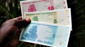 Zimbabwean dollar bills as unveiled by the Zimbabwe central bank in Zimbabwe in 2009. File picture: AFP/ Desmond Kwande