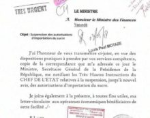 CAMEROUN/ SUSPENSION DES IMPORTATIONS DE SUCRE